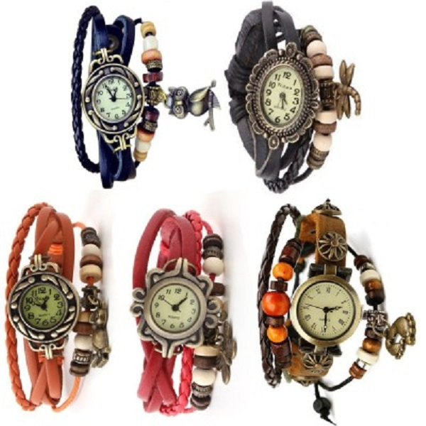 Iik VW111 Vintage Analog Watch Pack of 5