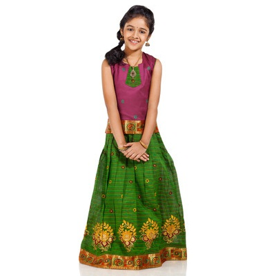 Kanakadara Self Design Girls Lehenga Choli