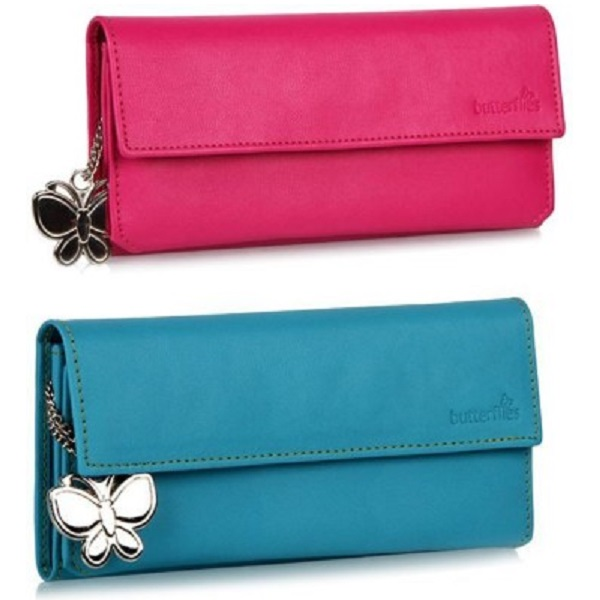 Butterflies Women Pink Artificial Leather Wallet Combo