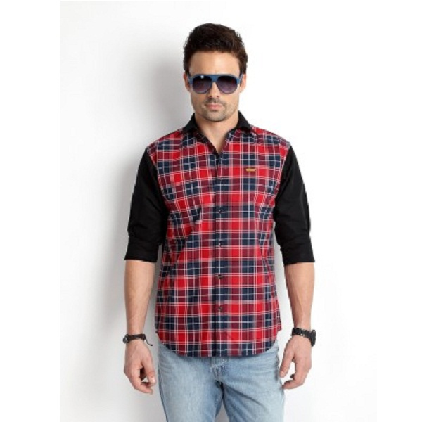 Rodid Mens Checkered Casual Black Shirt