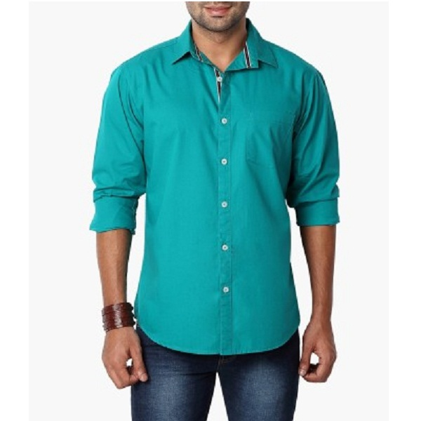 Suspense Mens Solid Casual Green Shirt