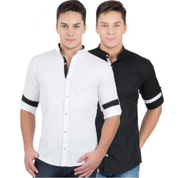 GHPC Mens Solid Casual White Black Shirt Pack of 2