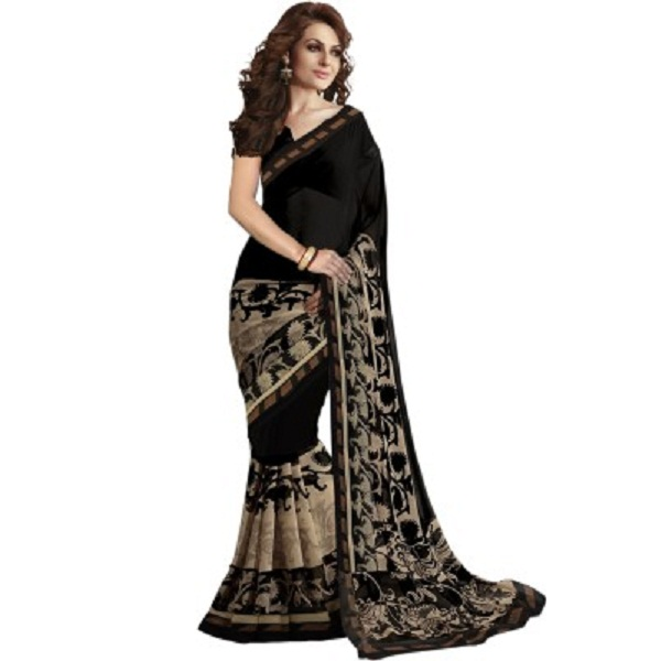 Ishin Printed Fashion Synthetic Georgette Sari