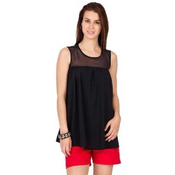 Alibi Casual Sleeveless Solid Womens Black Top