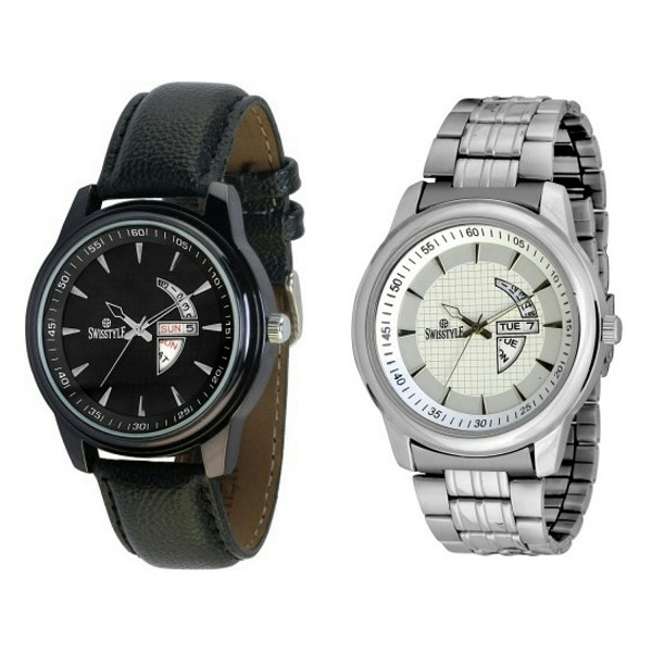 SS analog watch combo for men