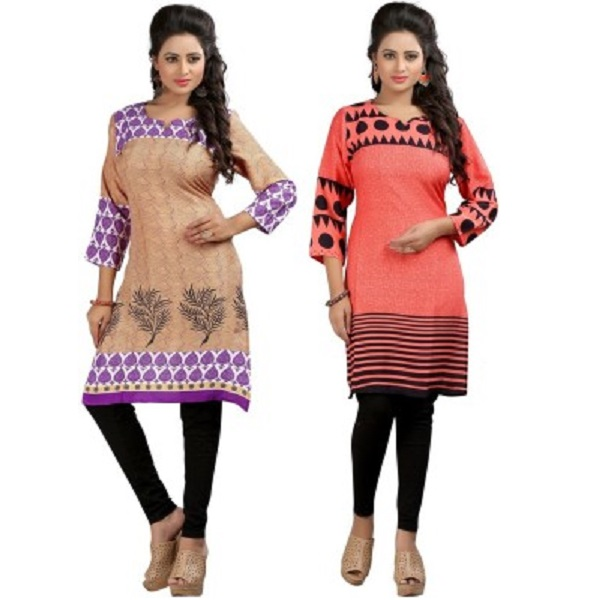 Ambitione Self Design Womens Kurti Pack of 2