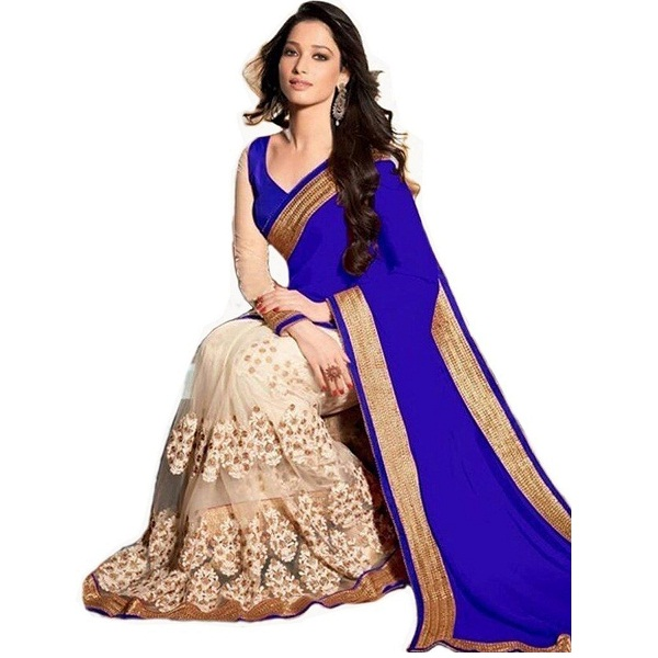 Womens Blue Georgette Saree