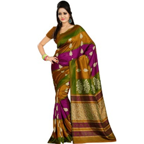 Right Shape Printed Mysore Art Silk Sari