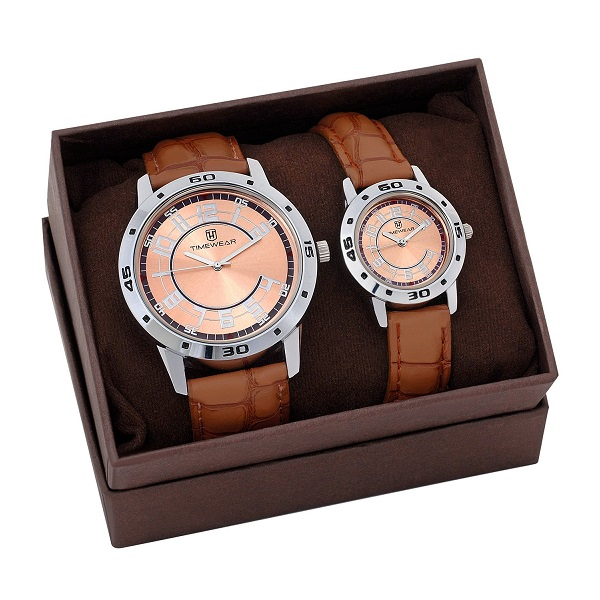 Analog Brown Dial Couple Watch
