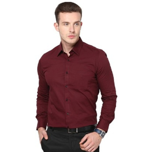 RPB Mens Solid Casual Maroon Shirt