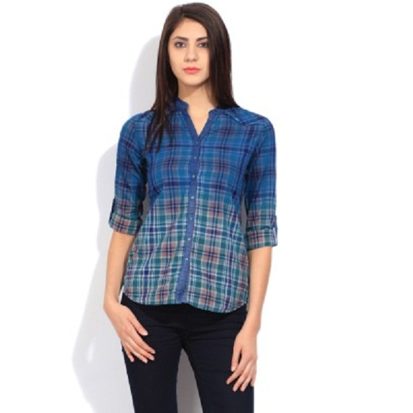 Wrangler Womens Checkered Casual Blue Shirt