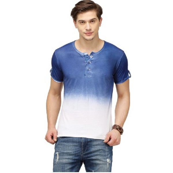 Campus Sutra Solid Mens Henley Dark Blue T Shirt