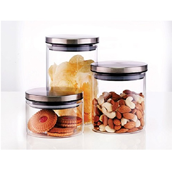 Borosil Classic Glass Jar Set 3Pieces