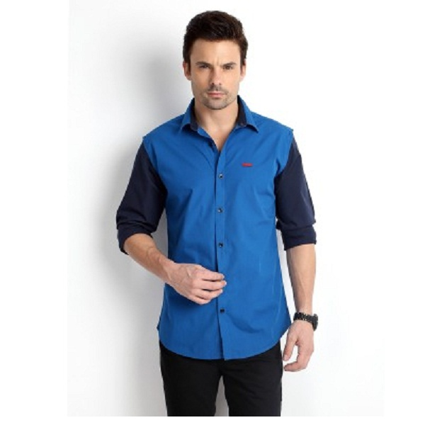 Rodid Mens Solid Casual Blue Shirt