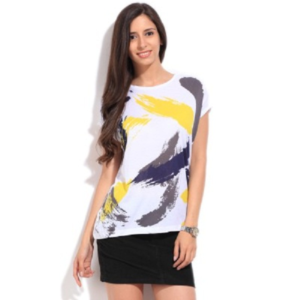 Lee Printed Womens Round Neck White Grey Yellow T Shirt