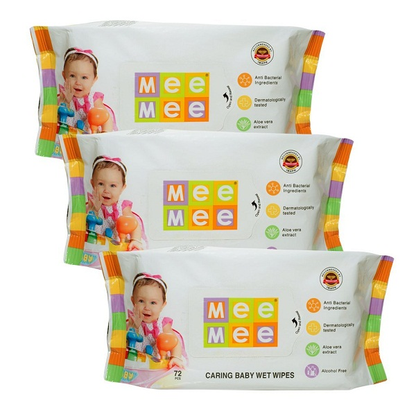 Mee Mee Caring Baby Wet Wipes with Aloe Vera 72 pcs Pack of 3