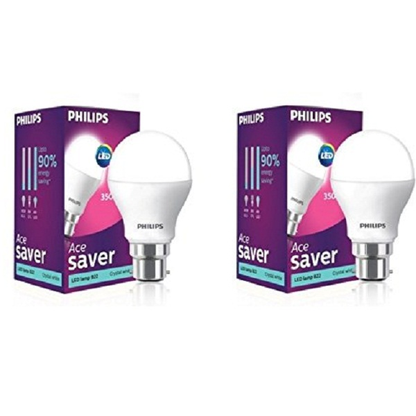 Philips Base B22 4 Watt LED Bulb Pack of 2