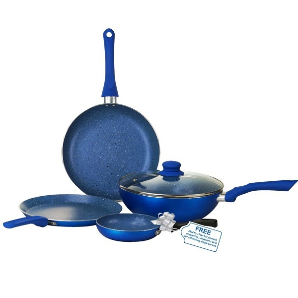 Wonderchef Royal Velvet Induction Base Aluminium Cookware Set With Free Mini Frying Pan 4 Pieces
