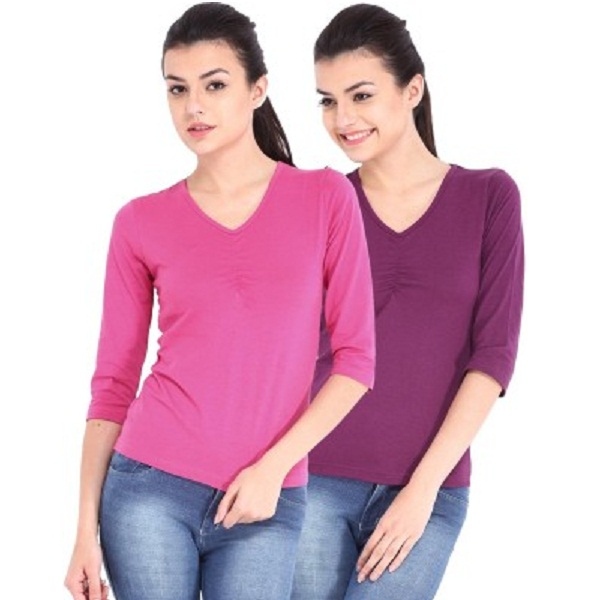 ESPRESSO Casual Solid Womens Top Pack of 2