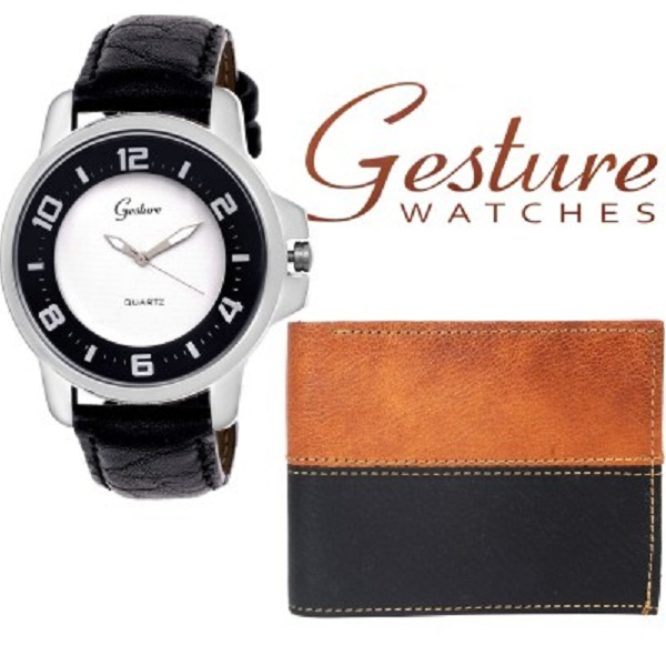 Gesture WALLET And Wrist Watch Mens Combo