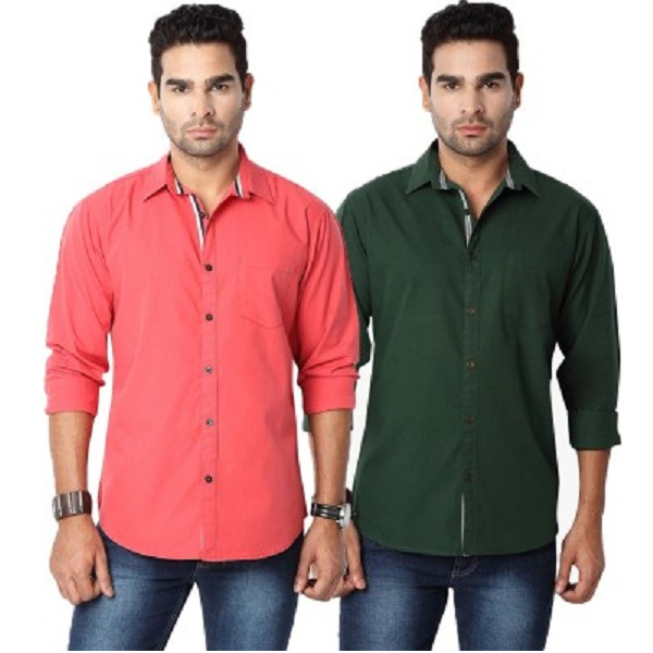 Suspense Mens Solid Casual Red Green Shirt Pack of 2