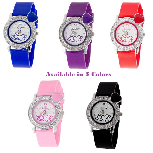 Addic Hearts In Love Soft Strap Watch