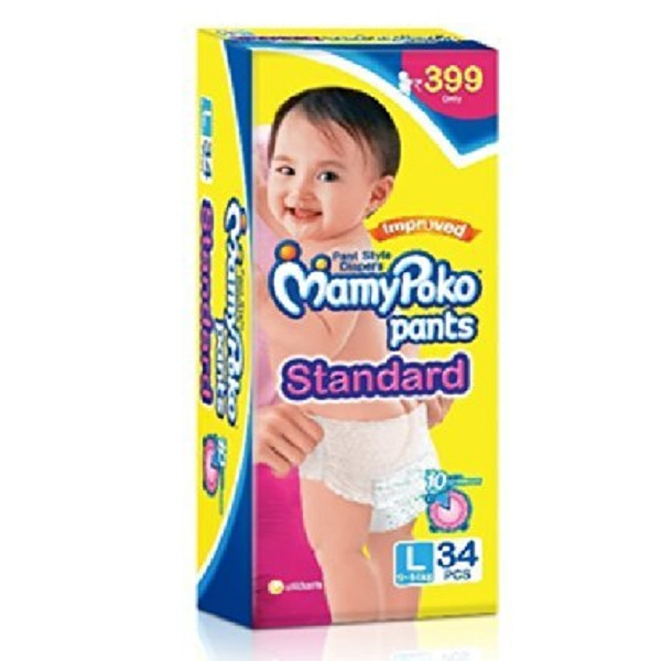 Mamy Poko Pants Standard Pant Style Large Size Diapers 34 Count