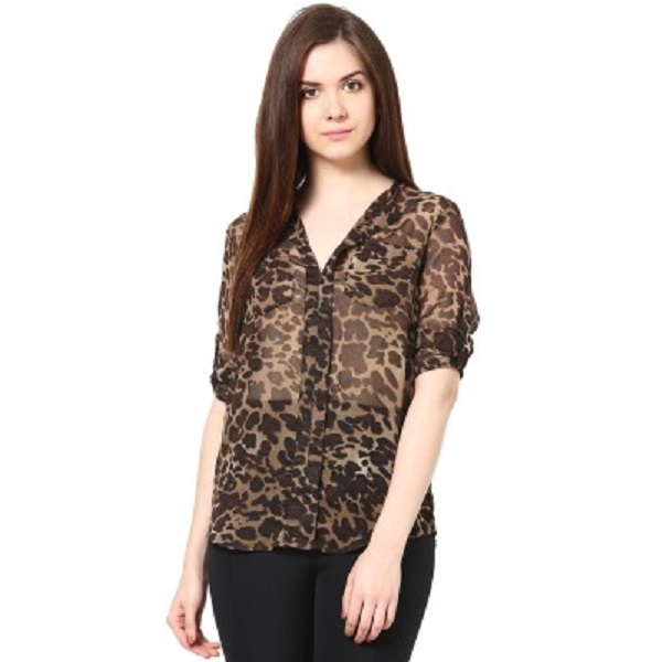 Trend18 Casual Roll up Sleeve Animal Print Black Top