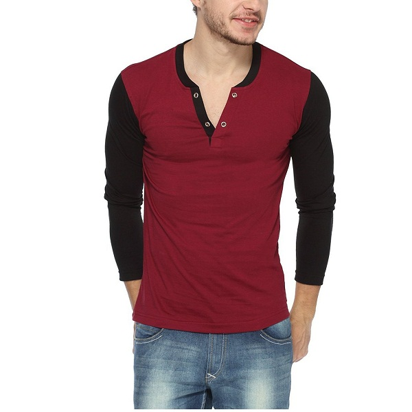 PepperCub Mens Henley Vneck Full Sleeve T shirt