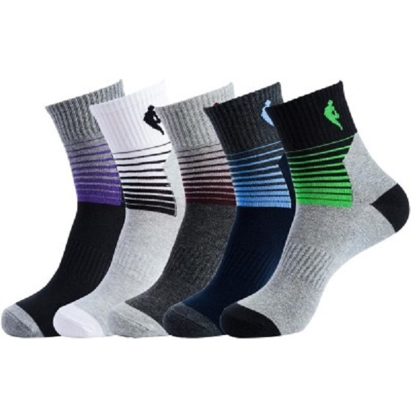 NBA Mens Striped Crew Length Socks Pack of 5