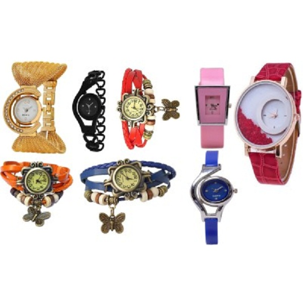 TRUE COLORS JACKPOT DEAL Combo of 8 Watches For Women