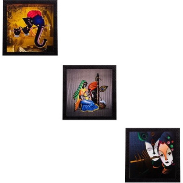 eCraftIndia Set Of 3 Spritual Matt Textured Framed Uv Art Print Oil Painting