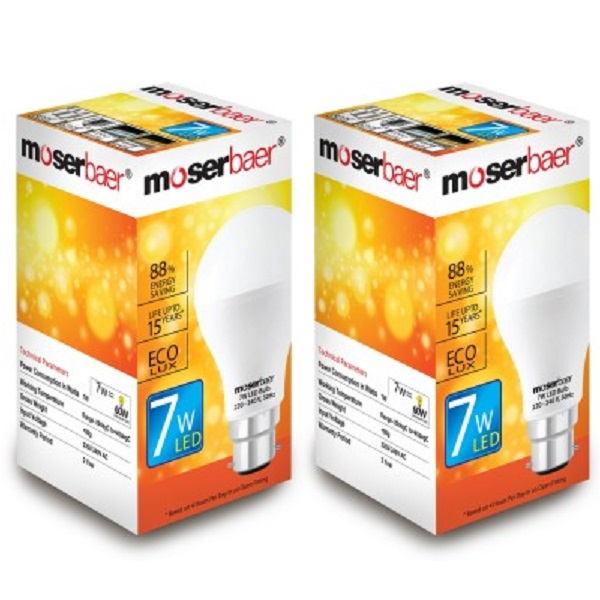 Moserbaer 7 W LED Bulb Pack of 2