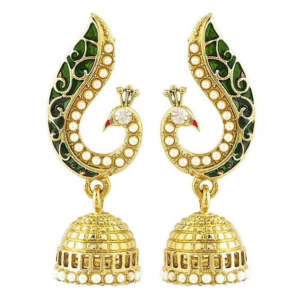 Peora Donna Peacock Jhumkis for Women