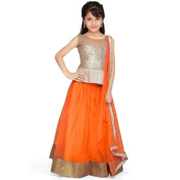 FIT FASHION Self Design Girls Lehenga Choli