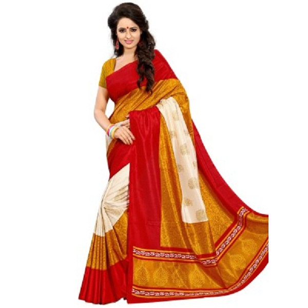 Kjs Printed Bollywood Art Silk Sari
