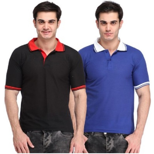 Lime Solid Mens Polo Neck Black Blue TShirt Combo