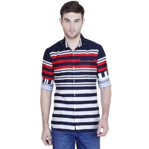 Human Steps Mens Striped Casual Red Shirt