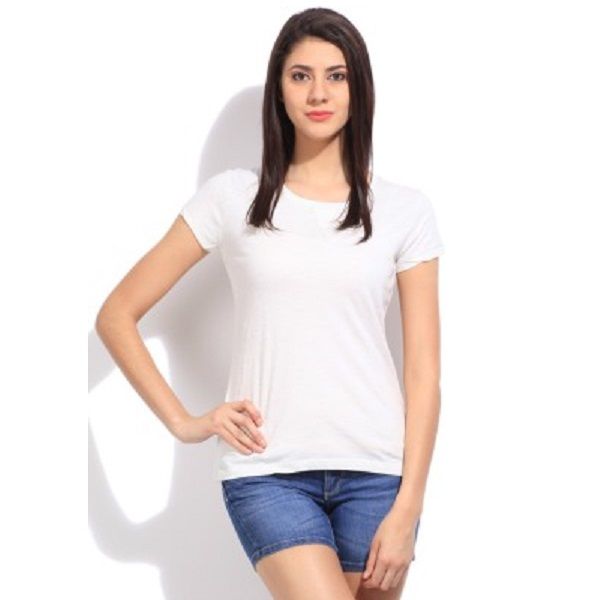 Cherokee Solid Womens Round Neck White TShirt