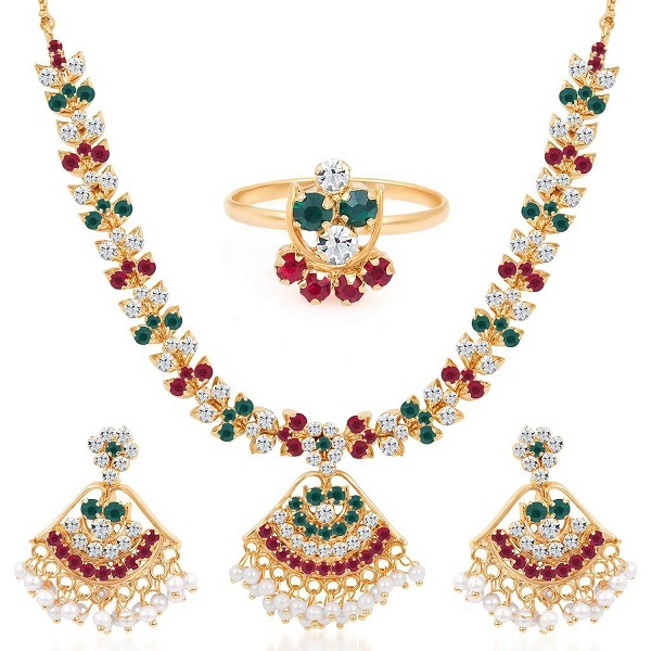 Sukkhi Paisley Gold Plated AD Necklace Earring Ring Set