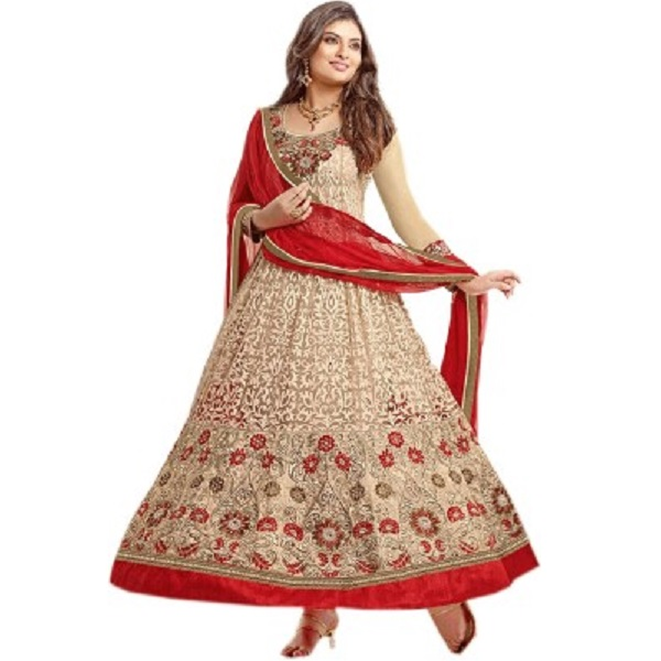 Helix Enterprise Georgette Embroidered Semistitched Salwar Suit Dupatta Material