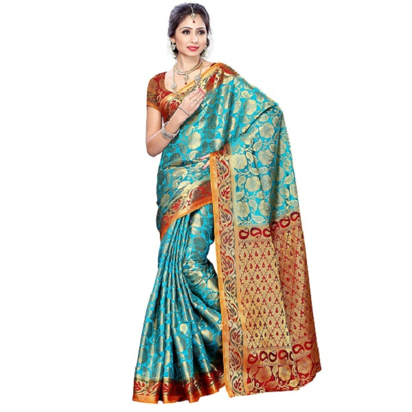 Mimosa Women Kanchipuram Art Silk Saree With Contrast Blouse