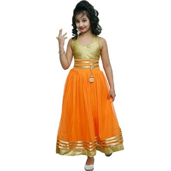 Ishika Garments Girls Maxi Orange Dress