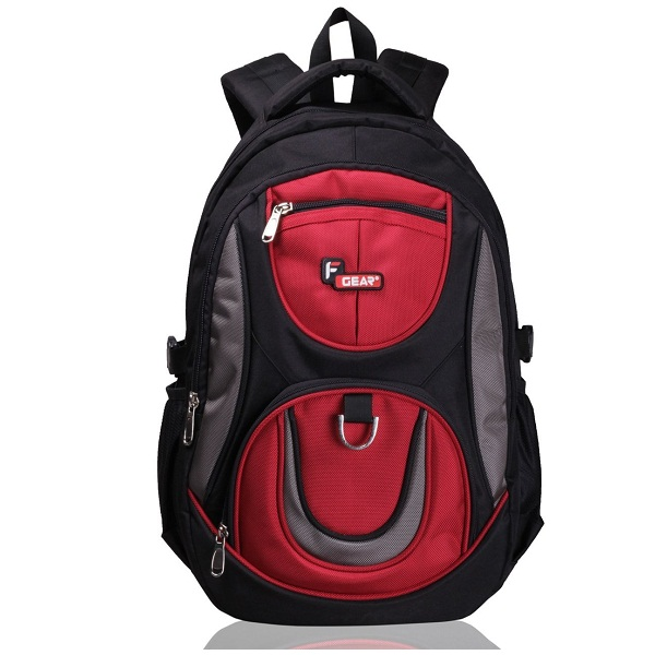 F Gear Axe Polyester 29 Liters Black Red School Bag