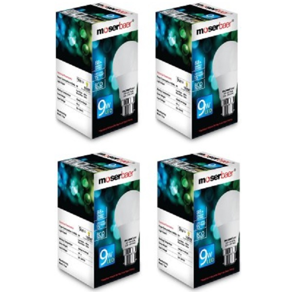 Moserbaer 9 W LED Pack of 4 Bulb