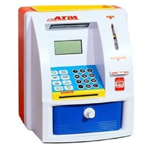 Super ATM Machine For Kids Open With Secret Password Coin Bank