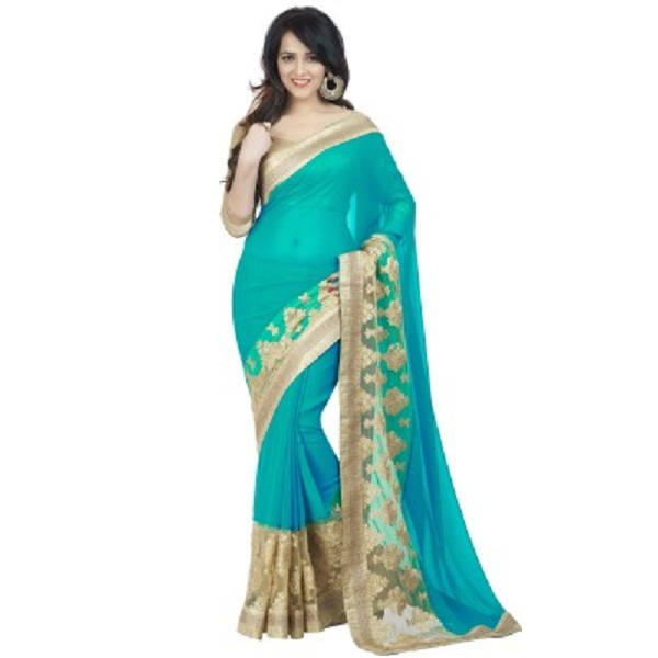 Oomph Embriodered Solid Bollywood Chiffon Net Sari