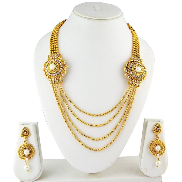 Ameeyo Golden Metal Multistrand Necklace With Earring Set For Women