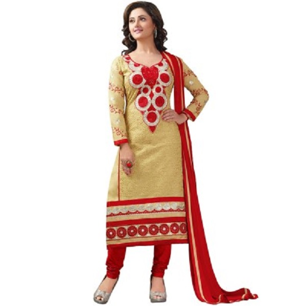 Khushali Cotton Self Design, Embroidered Salwar Suit Dupatta Material
