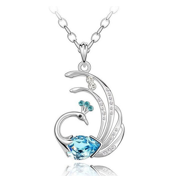 Shining Diva Genuine Austrian Crystal 18k White Gold Plated Peacock Pendant Necklace Gift
